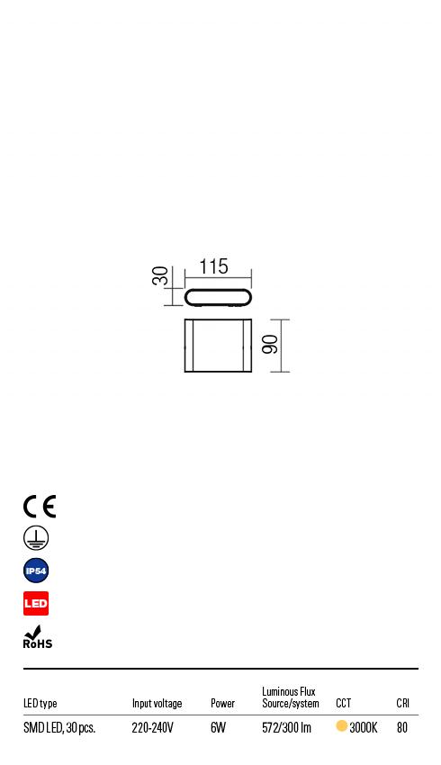 Redo 9052 Pocket LED Kültéri fali lámpa