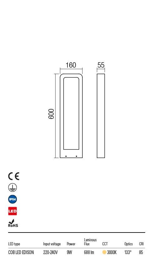 Redo 90014 Radeon LED Kültéri állólámpa