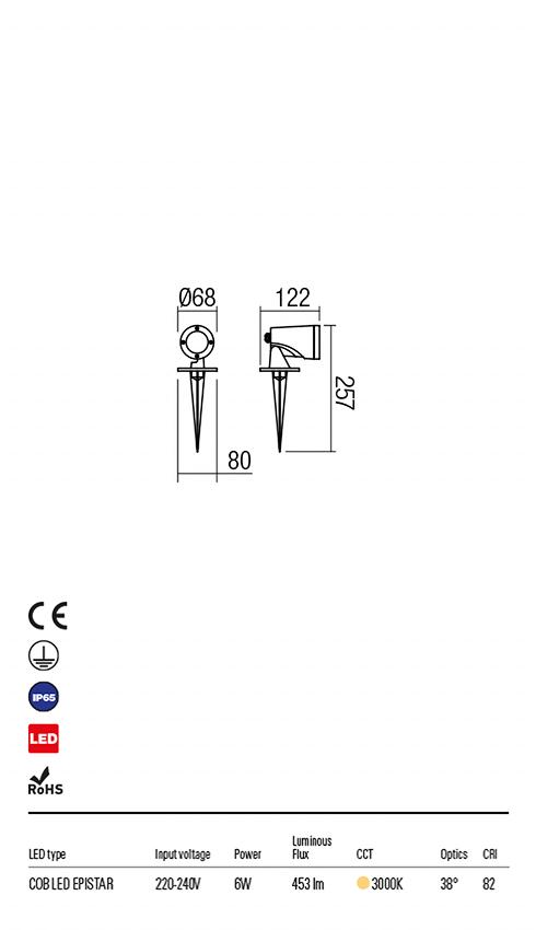 Redo 9492 Sam LED Kültéri leszúrható lámpa