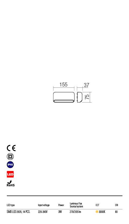 Redo SAPO 90070 LED Kültéri fali lámpa