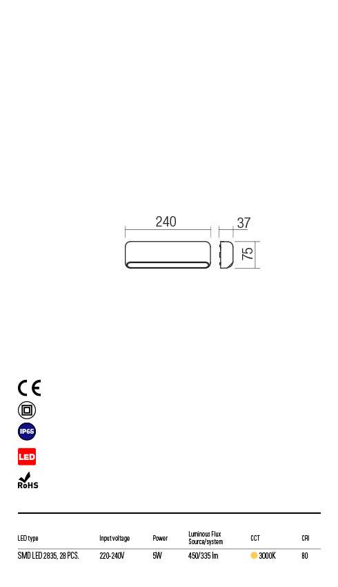 Redo SAPO 90071 LED Kültéri fali lámpa