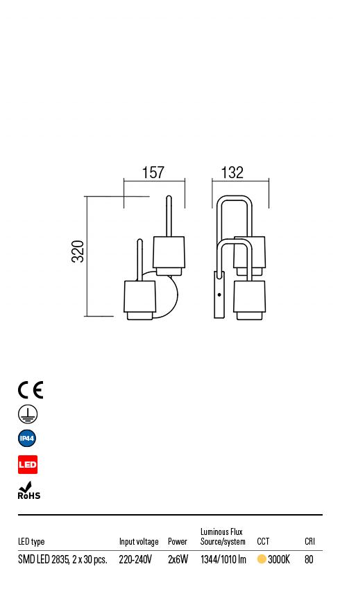 Redo 9833 Seido LED Kültéri fali lámpa