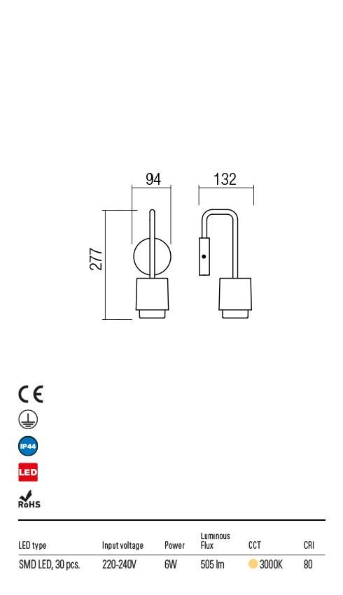 Redo 9832 Seido LED Kültéri fali lámpa