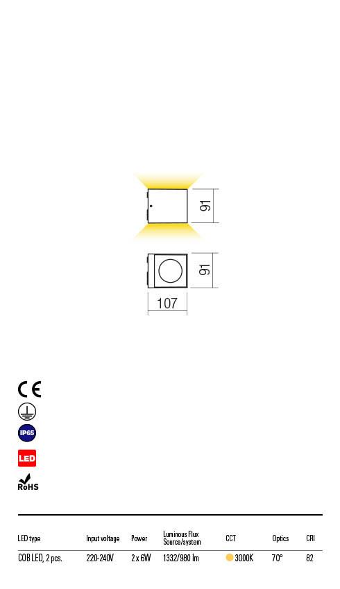 Redo TEKO 90102 LED Kültéri fali lámpa