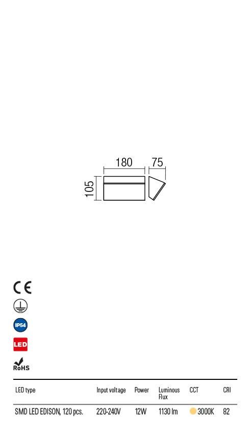 Redo 90017 Tokyo LED Kültéri fali lámpa
