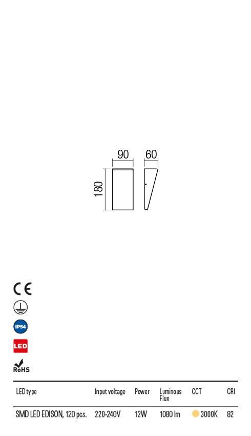 Redo 90019 Tokyo LED Kültéri fali lámpa