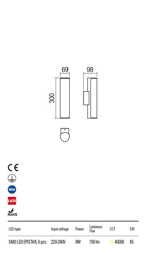 Redo 9587 Troll LED Kültéri fali lámpa