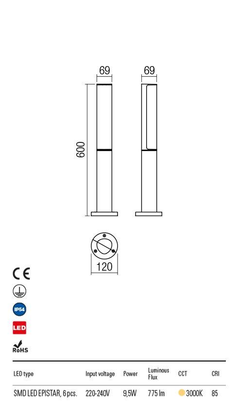 Redo 9588 Troll LED Kültéri állólámpa