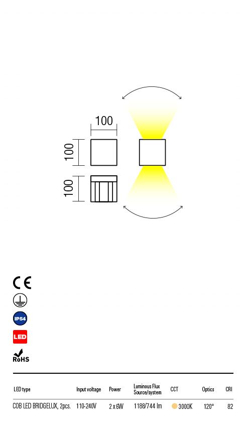 Redo VARY 90172 LED Kültéri fali lámpa