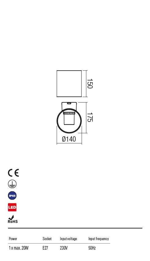 Redo 9495 Vidrio LED Kültéri fali lámpa