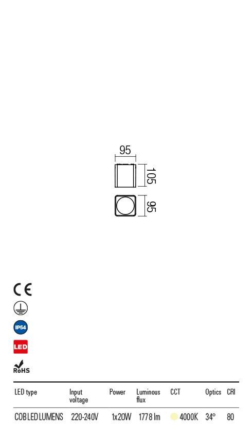 Redo 90032 Xia LED Kültéri mennyezeti lámpa