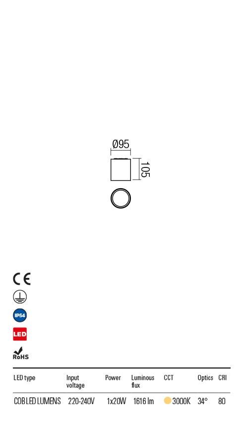 Redo 9580 Xia LED Kültéri mennyezeti lámpa