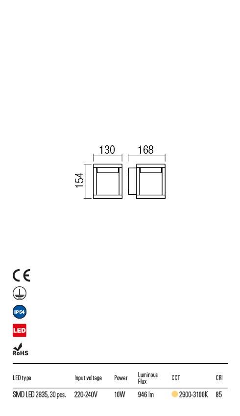 Redo 9564 Xiera LED Kültéri fali lámpa