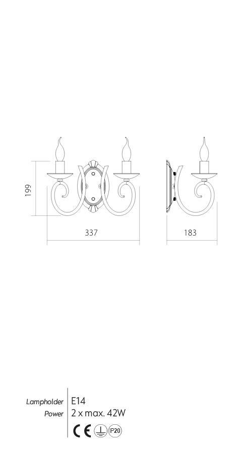 Incanti ICI W2 23 CIRCE Fali lámpa