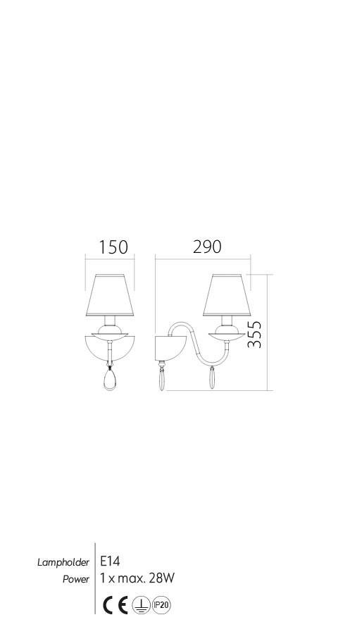 Incanti IEL W1 01 01 ELIZEE Fali lámpa
