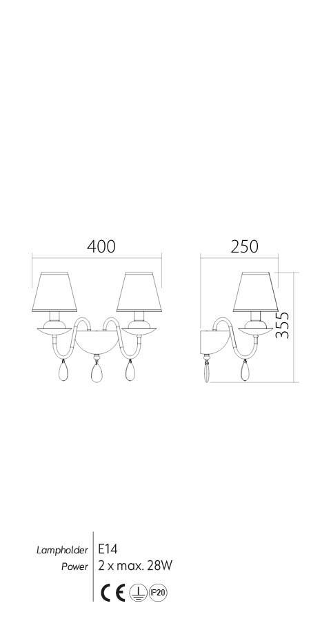 Incanti IEL W2 22 06 ELIZEE Fali lámpa