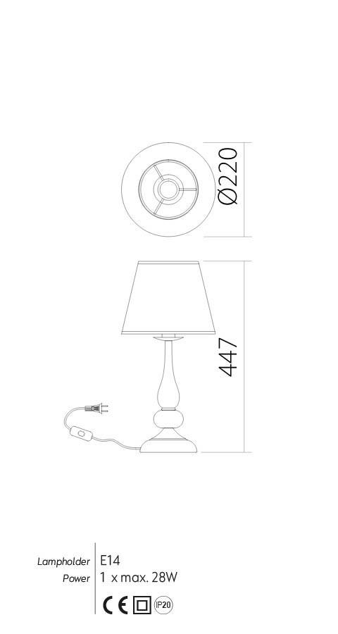 Incanti IEL T1 23 02 ELIZEE Asztali lámpa