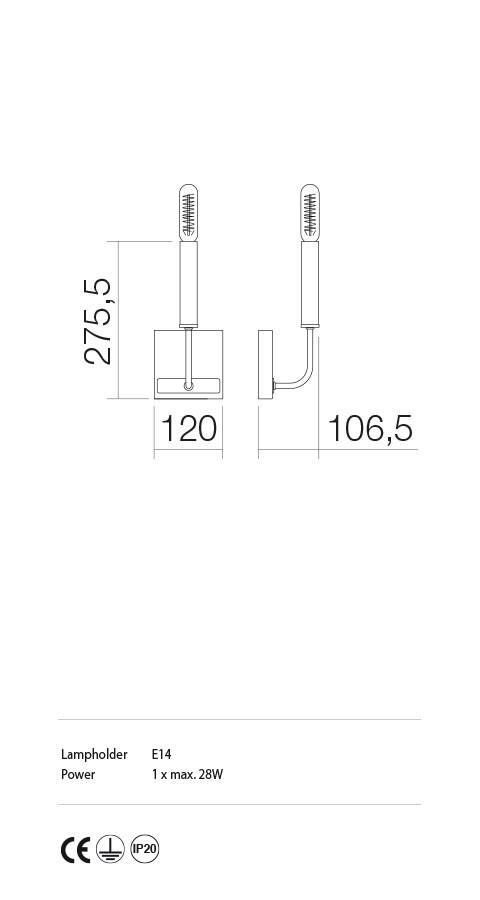 Incanti IKN W1 06 12 KONIG Fali lámpa