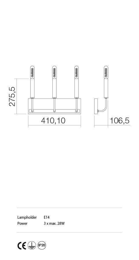Incanti IKN W3 06 12 KONIG Fali lámpa