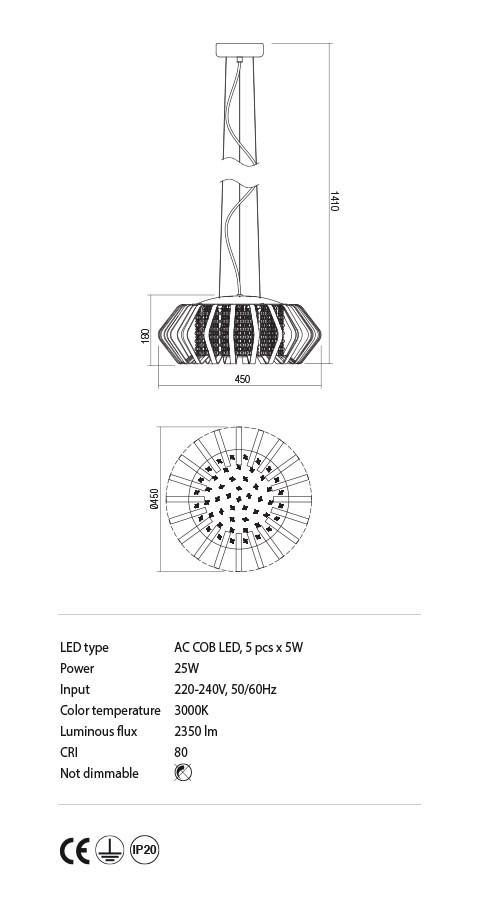 Incanti IRN P5 11 RENEE lámpa Függeszték