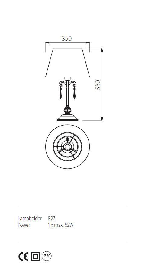 Incanti ICT T1B 20 06 COSTANZA Asztali lámpa
