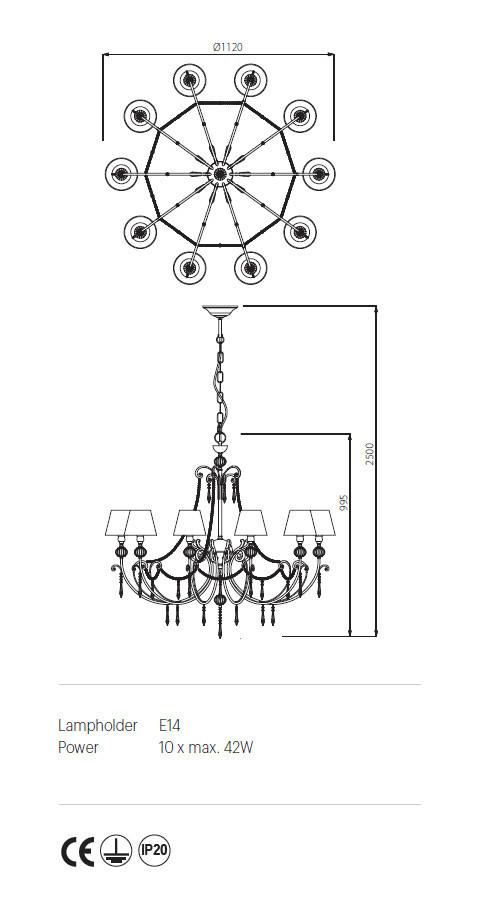 Incanti ICT C10 03 02 COSTANZA Csillár lámpa