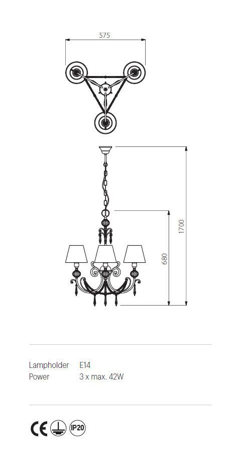 Incanti ICT C3 21 02 COSTANZA Csillár lámpa