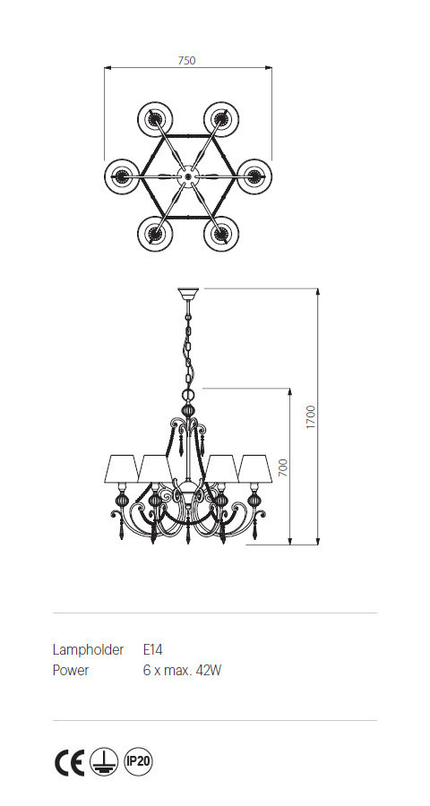 Incanti ICT C6 03 02 COSTANZA Csillár lámpa