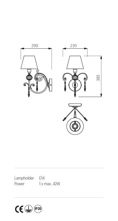 Incanti ICT W1 21 02 COSTANZA Fali lámpa
