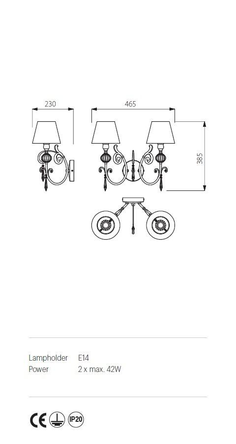 Incanti ICT W2 20 04 COSTANZA Fali lámpa