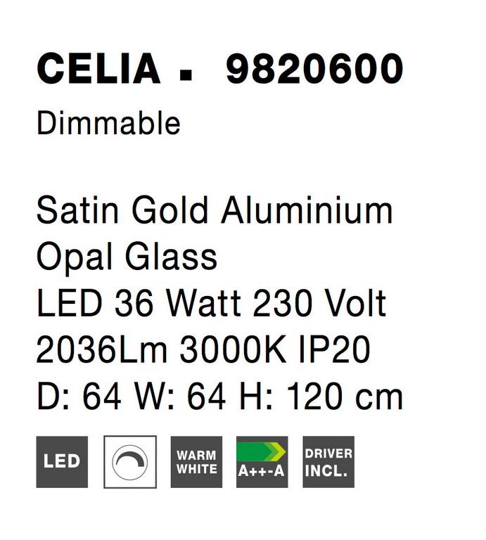 Nova Luce NL-9820600 Celia LED távirányító függesztett lámpa