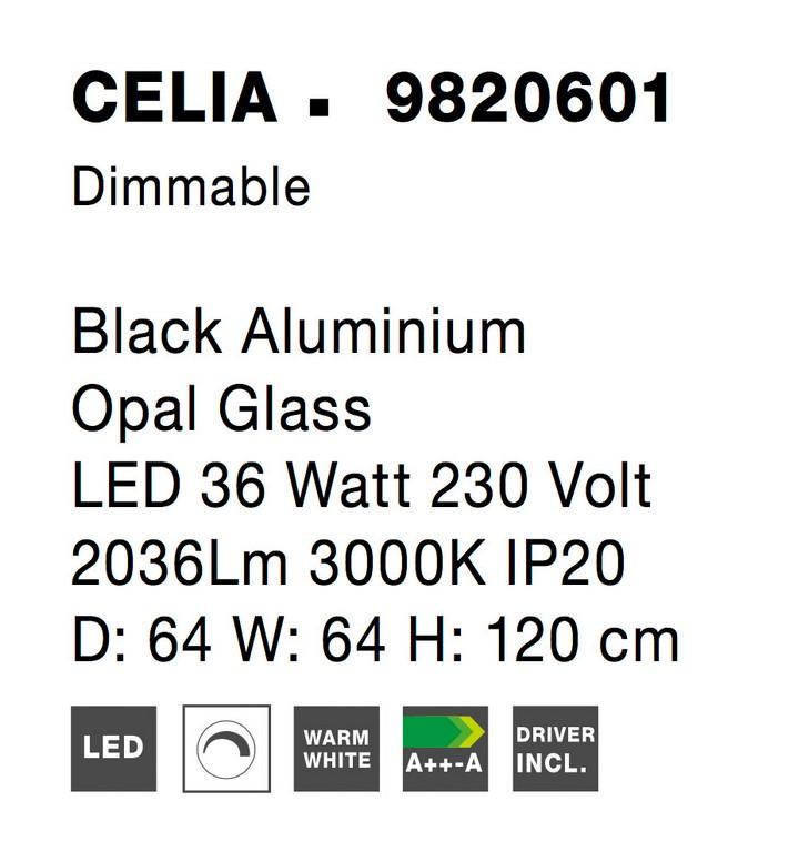 Nova Luce NL-9820601 Celia LED távirányító függesztett lámpa