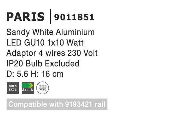 Nova Luce NL-9011851 Paris sínrendszeres lámpa